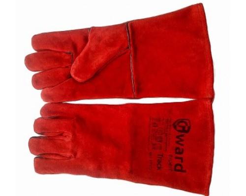 Краги сварщика красные с флисовой подкладкой