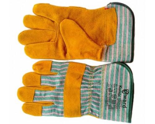 Перчатки комбинированные из спилка оранжевого цвета и красно-зеленой ткани, с мягким манжетом