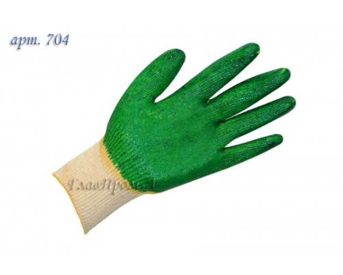 Перчатки х/б двойной облив латекс, 13 класс