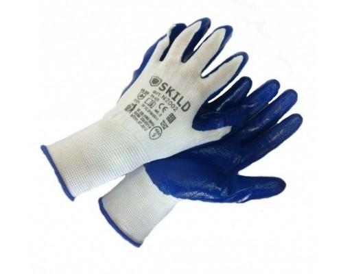 Перчатки нейлоновые с нитриловым покрытием синего цвета