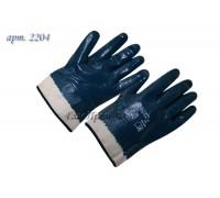 Перчатки нитриловые полный облив манжет крагой