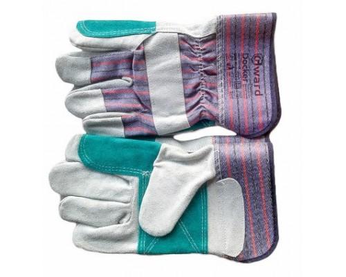 Перчатки комбинированные с усилением ладони и указательного пальца спилком зеленого цвета. (Доккер)